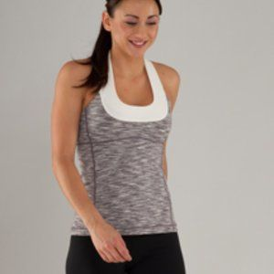 Lululemon Scoop Neck Tank Top Magnum Gray White 6